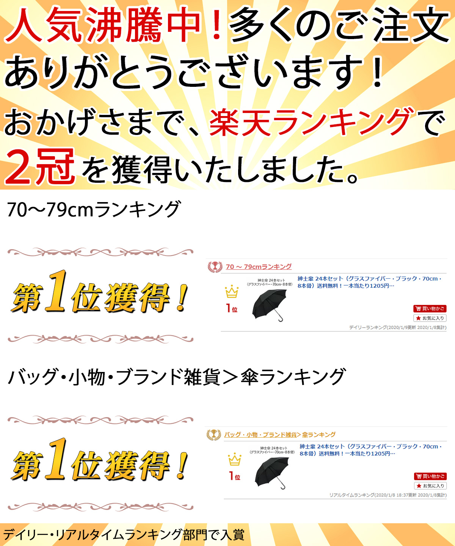 紳士傘 24本セット(グラスファイバー・ブラック・70cm・8本骨) ランキング入賞