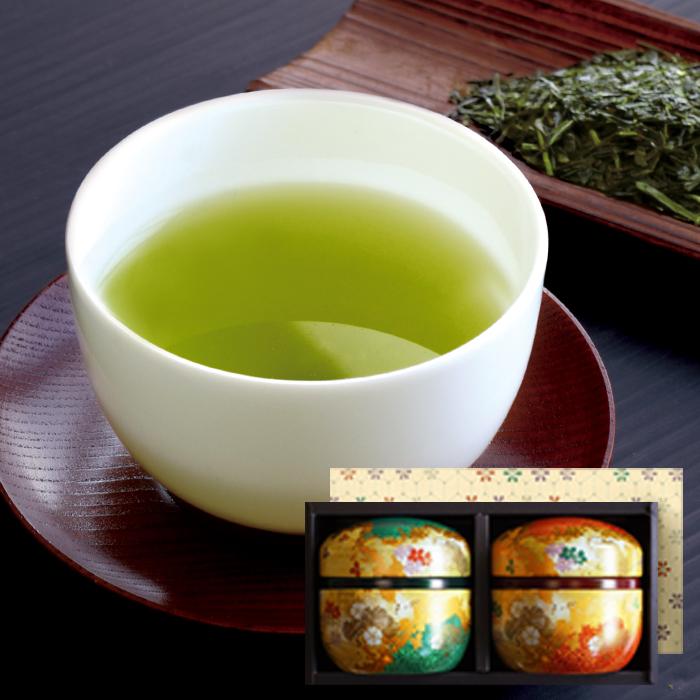 送料無料 鈴子花揃えギフト 静岡深蒸し煎茶と抹茶入り玄米茶詰め合わせ