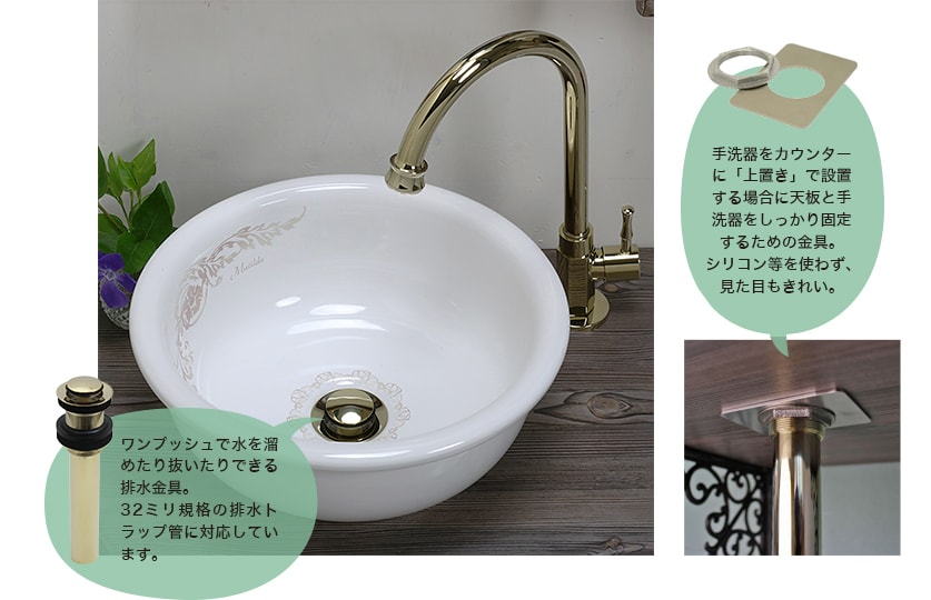 32mm規格の排水部材と卓上手洗い器用固定金具がセット。