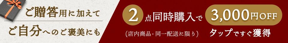 2枚購入で3千円OFFクーポン