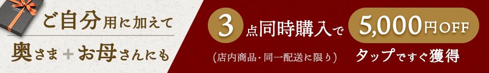 3枚購入で5千円OFFクーポン