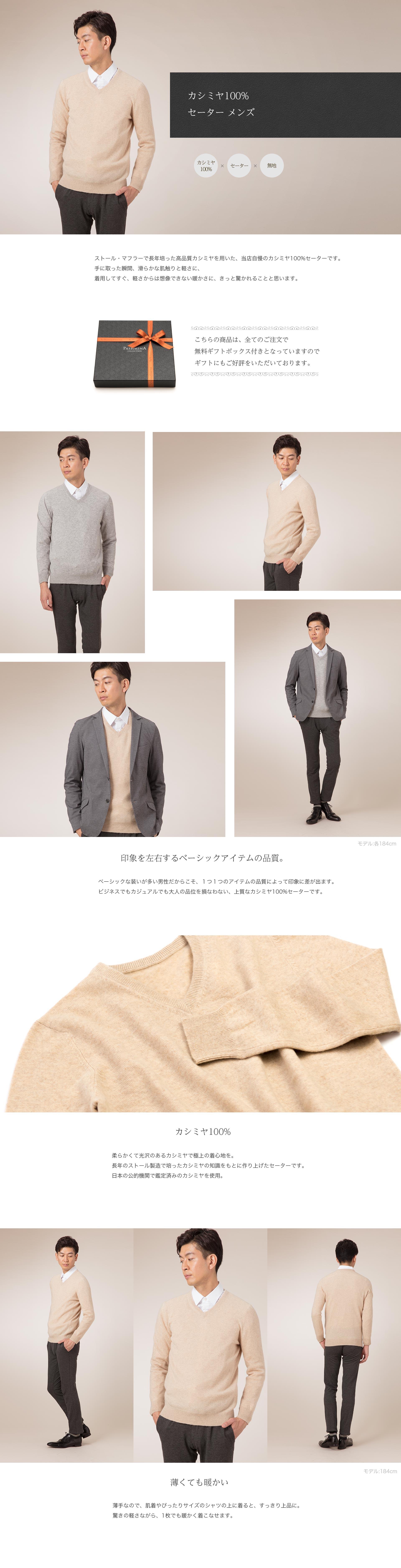 カシミヤ100% セーター メンズ
