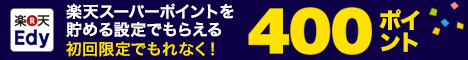 楽天Edy初回ポイント設定でもれなく400ポイント!(楽天Edyデビューキャンペーン)