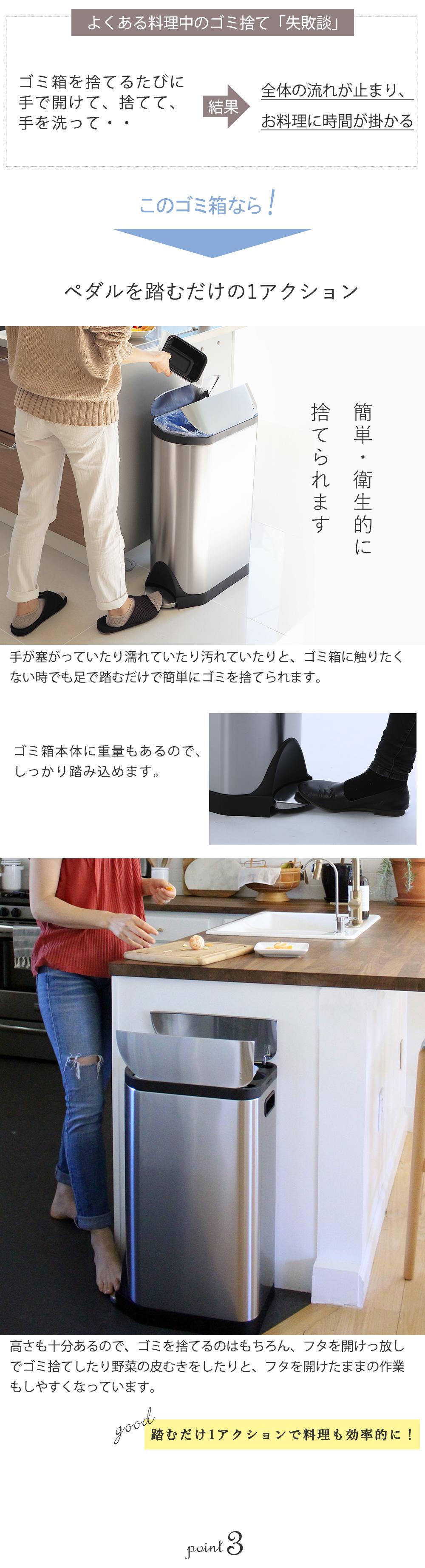 キッチンでフットペダル式のゴミ箱を使っているお母さんと子供