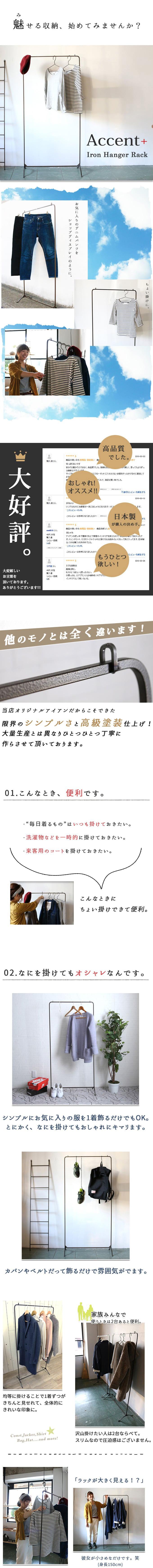『Accent+ アイアンハンガーラック』 コートハンガー / 1