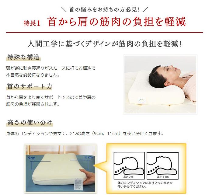 特長1、首から肩の筋肉の負担を軽減