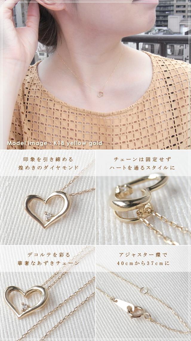 華奢でシンプルな18Kネックレス、K18ゴールド(18金)レディースダイヤモンドネックレスの画像4
