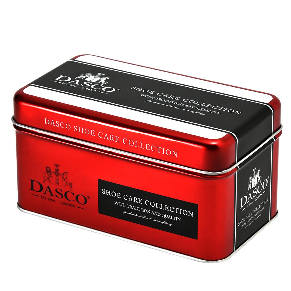 カラーコントラストが美しい、ギフトにも最適なシューケアボックス缶です。