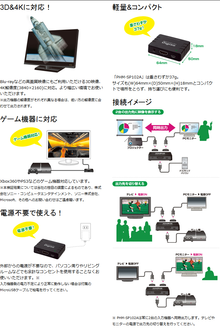 3D&4Kに対応!/軽量&コンパクト/ゲーム機器に対応/電源不要で使える!/接続イメージ