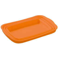 シリコン製洗い桶たたんだときオレンジ