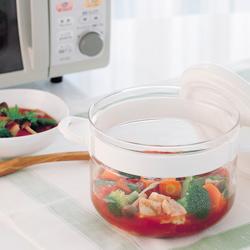ハリオ・電子レンジ用おかずなべでトマト煮を作る