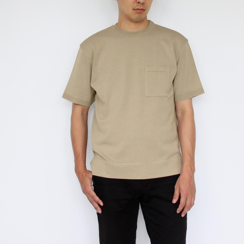 ポケット付き半袖ニットTシャツ