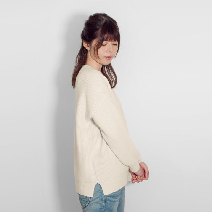 カシミヤ100%畦編みクルーネックセーター