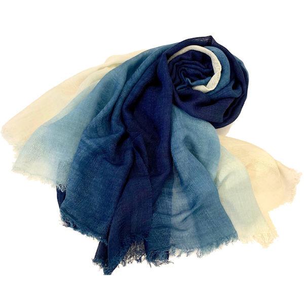 武州藍染 ストール グラデーション 藍染職人の技 シルクウール 滑らかな肌触り