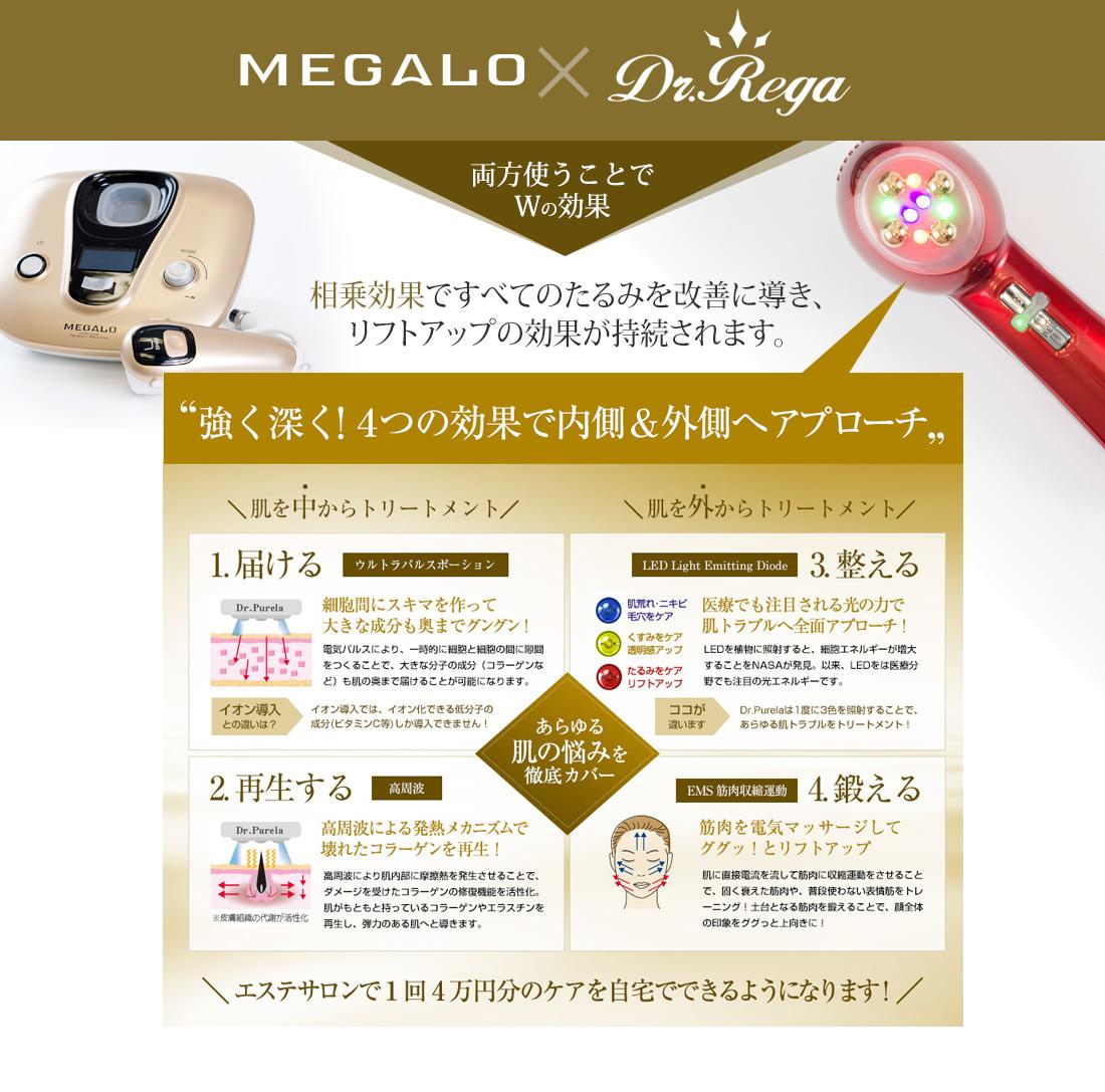 美顔器ドクターレガRegaと美顔器メガロMEGALOとの相乗効果がすごい