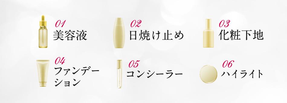 1美容液/2日焼け止め/3化粧下地/4ファンデーション/5コンシーラー/6ハイライト