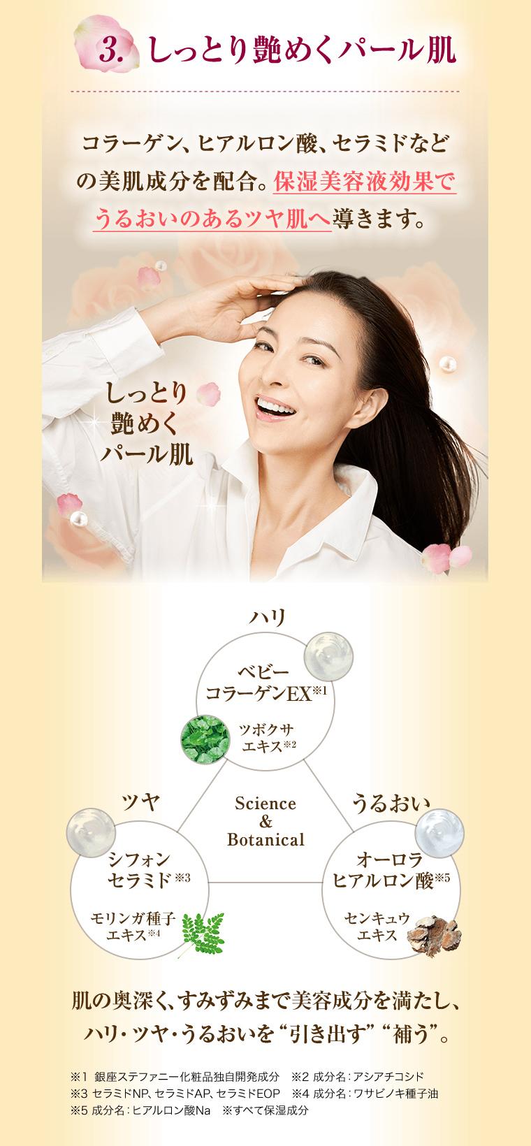 3.しっとり艶めくパール肌/コラーゲン、ヒアルロン酸、セラミドなどの美容成分を配合。保湿美容液効果でうるおいのあるツヤ肌へ導きます。/しっとり艶めくパール肌