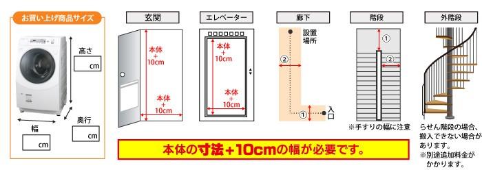 本体の寸法+10cmの幅が必要です。
