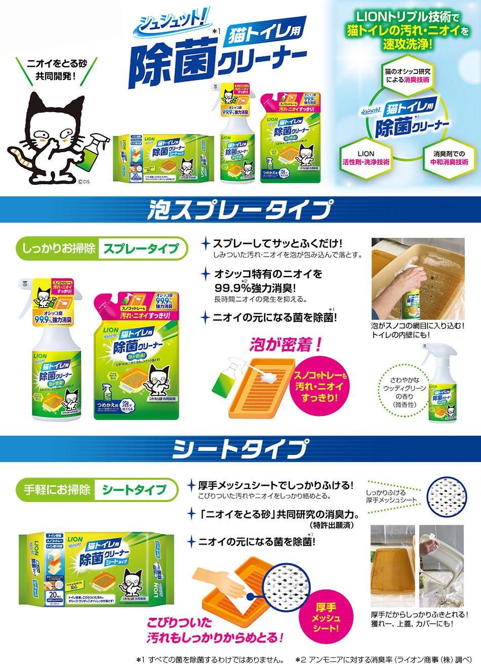 シュシュット! 猫トイレ用 除菌クリーナー