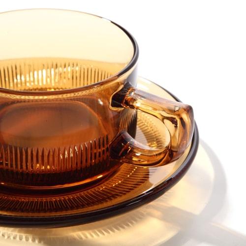 ホットコーヒーが入れられる耐熱性硝子