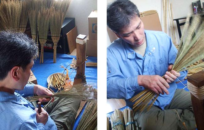 江戸箒の特上を制作する高木さんの元で10年修行した鈴木さん