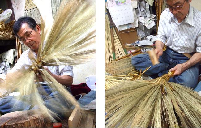 江戸箒の特上を制作するこの道60年の高木さん