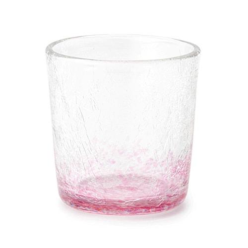 萩ガラス工房 内ひび角ロックグラス ピンク
