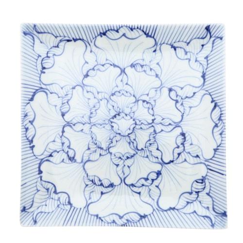 そうた窯 染付花弁紋 7.5正角皿