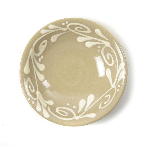 育陶園 皿3.5寸白イッチン