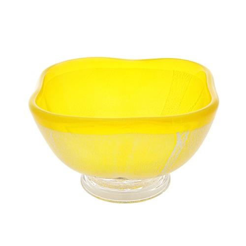 肥前びーどろ 銀彩 角小鉢 黄