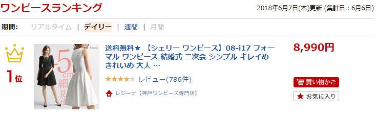 楽天市場でワンピースランキング1位に入賞!