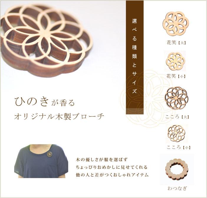 木製のブローチの種類と大きさの説明