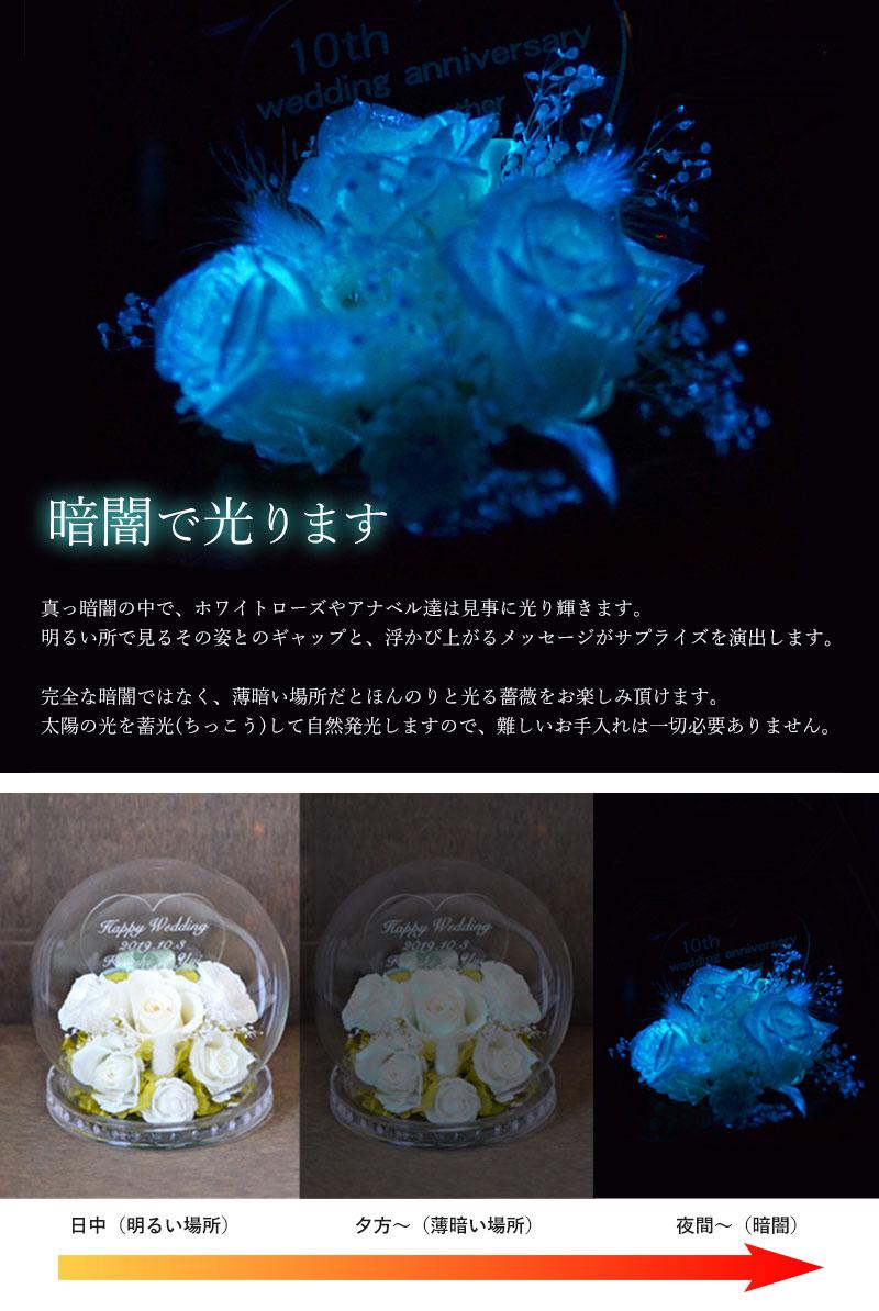 暗闇の中で光輝く白薔薇とメッセージ彫刻部分の写真