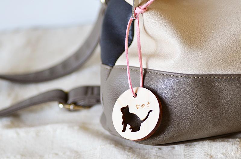 実際のかばんにキーホルダーを着けている画像