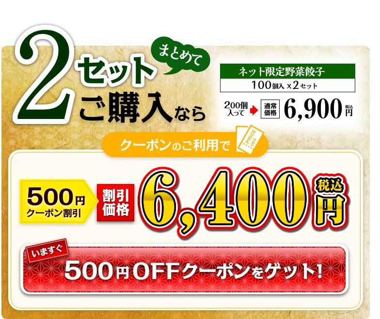 ネット限定野菜餃子 2セットまとめ買い お得なクーポンはこちら