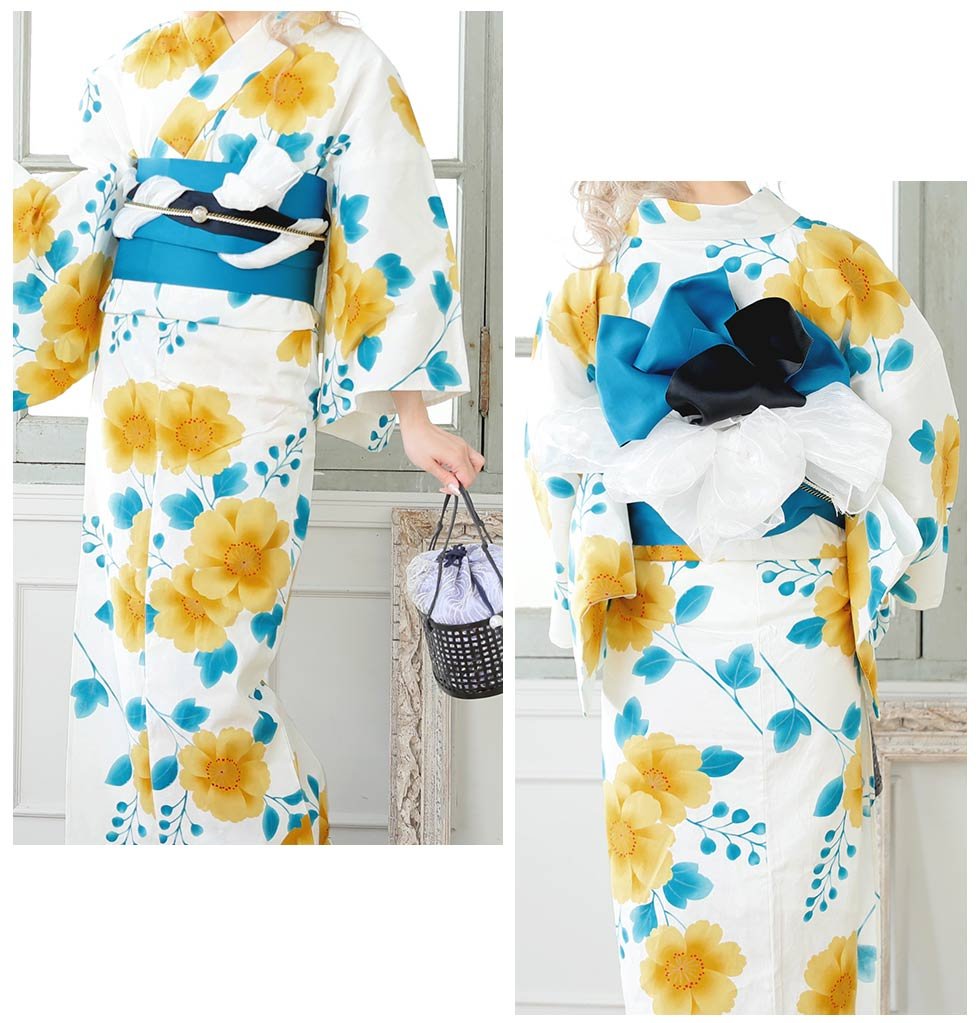 24d61e3e3da19 浴衣 3点セット 白地x黄色の花模様浴衣セット あす楽 浴衣 3点セット 白地x黄色の花模様浴衣セット 花柄 セクシー レディース ROUGE