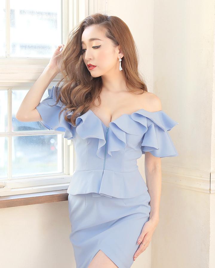 【あす楽】 キャバドレス ドレス ミニ 大きいサイズ 【S,XLサイズ/4カラー】ボリュームフリルペプラムチューリップカットキャバドレス  オフショル[OF04] ROUGE