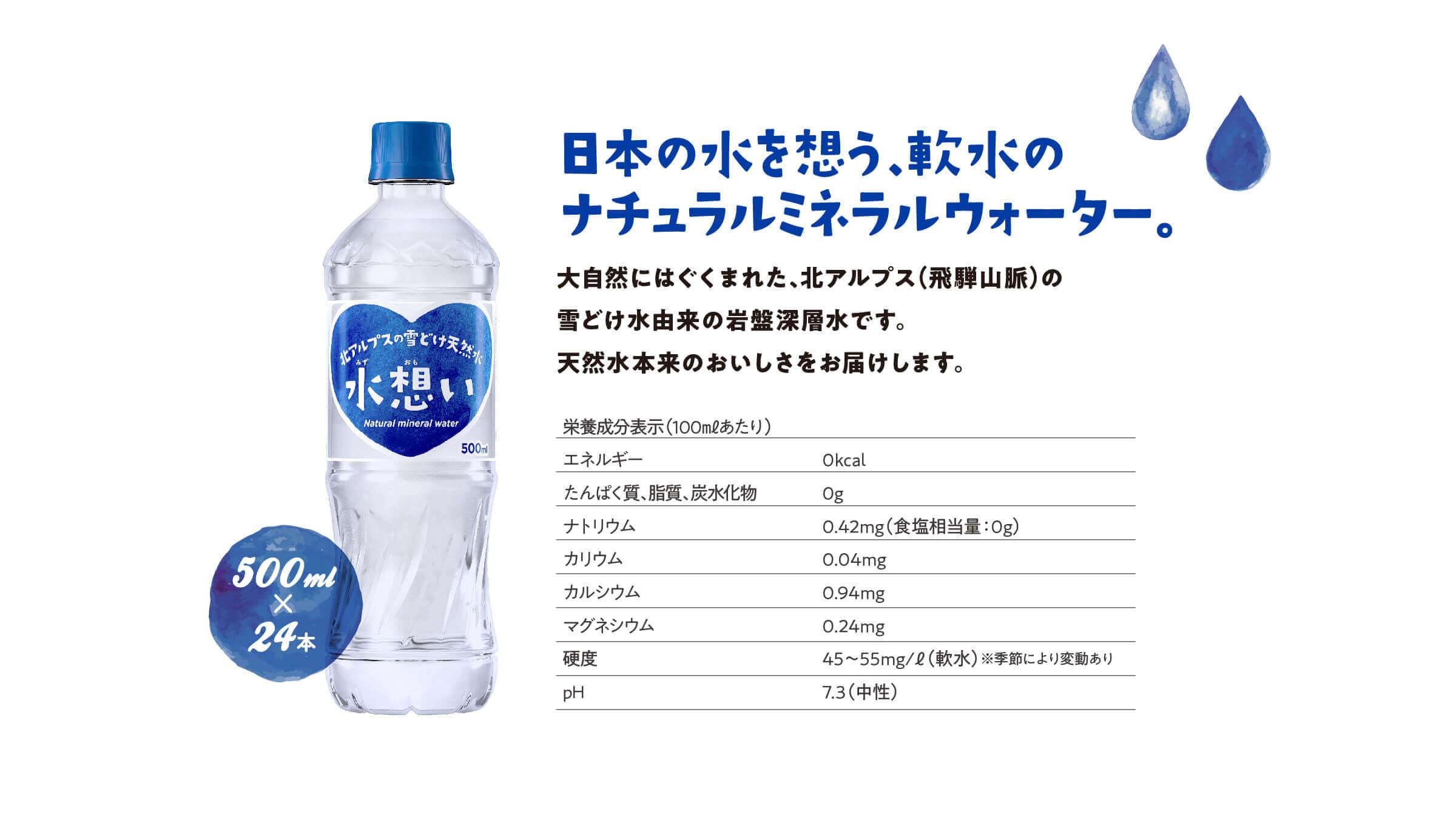 日本の水を想う、軟水のナチュラルミネラルウォーター。
