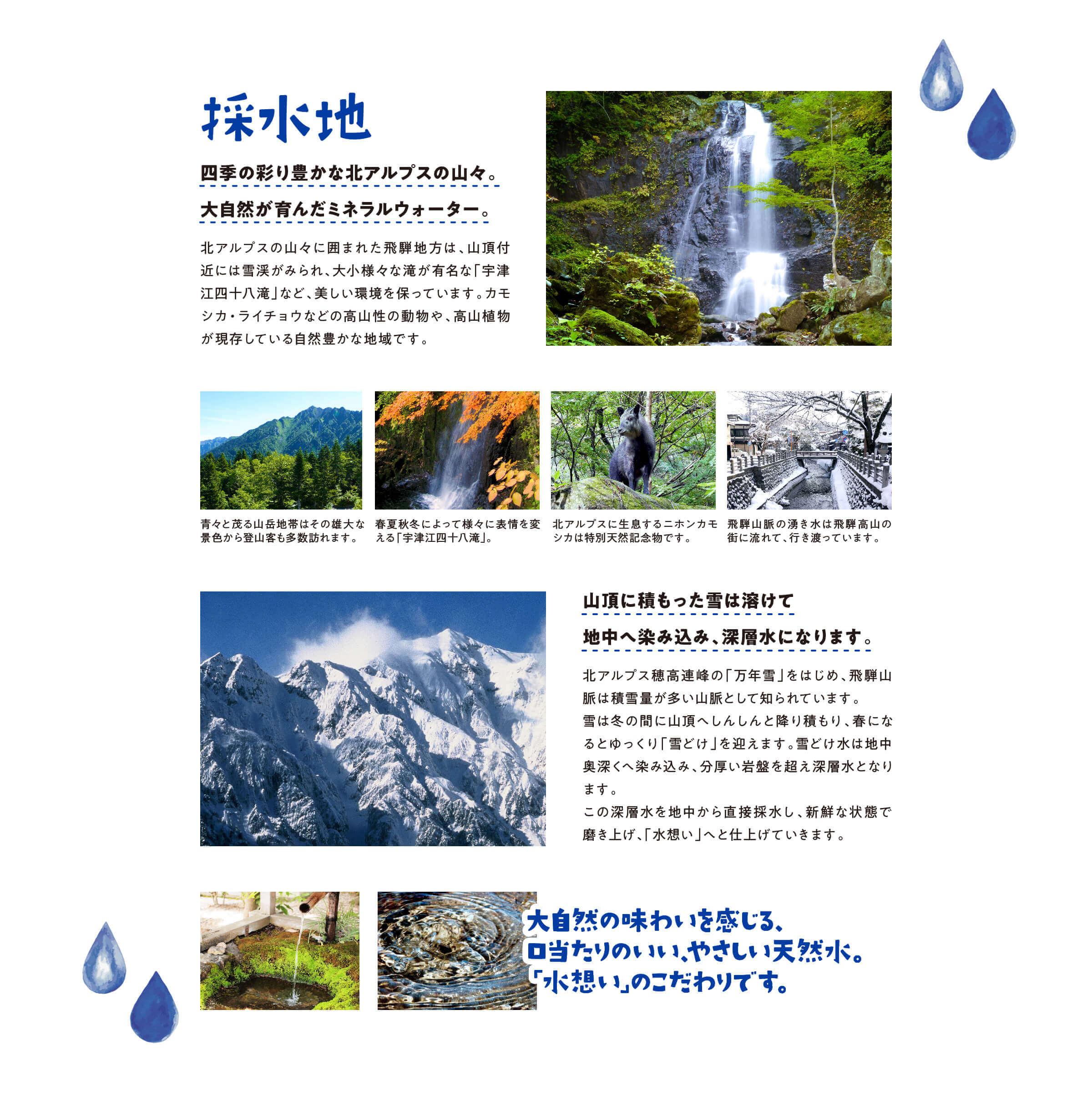 採水地 四季の彩豊かな北アルプスの山々。大自然が育んだミネラルウォーター。