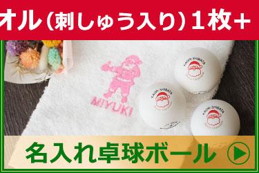 クリスマスVer今治タオル(刺しゅう入り)+名入れ卓球ボールセット