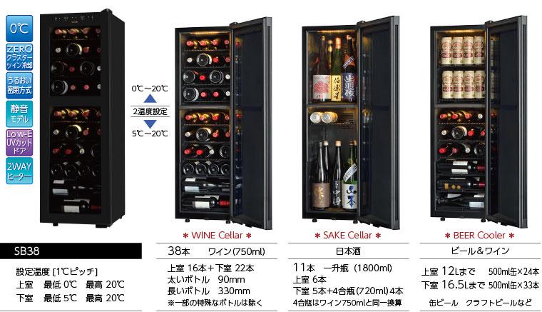 ワインセラーSB38は SAKE CellarにもBEER Coolerにもなります
