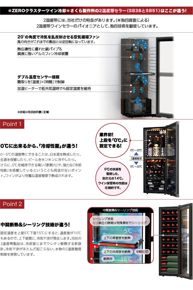 さくら製作所の2温度帯セラー SB38とSB51のZEROクラスターツイン冷却