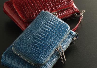 お財布ポシェット ウォレットバッグ 財布バッグ ミニバッグ ワニ革 クロコダイル