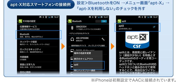 apt-X対応スマートフォンの接続例