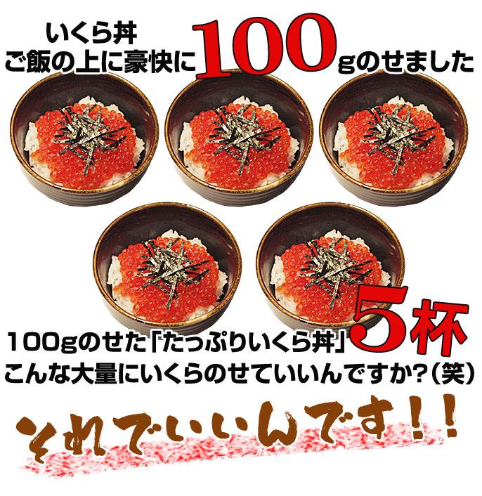 いくら丼ご飯の上に豪快に100gのせました 100gのせた「たっぷりいくら丼」5杯 こんな大量にいくらのせていいんですか?(笑) それでいいんです!