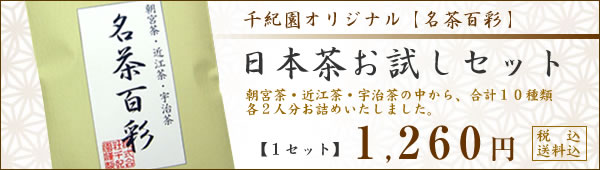 日本茶お試しセット・銘茶百彩 朝宮茶・近江茶・宇治茶の中から、合計10種類各2人分お詰めいたしました。