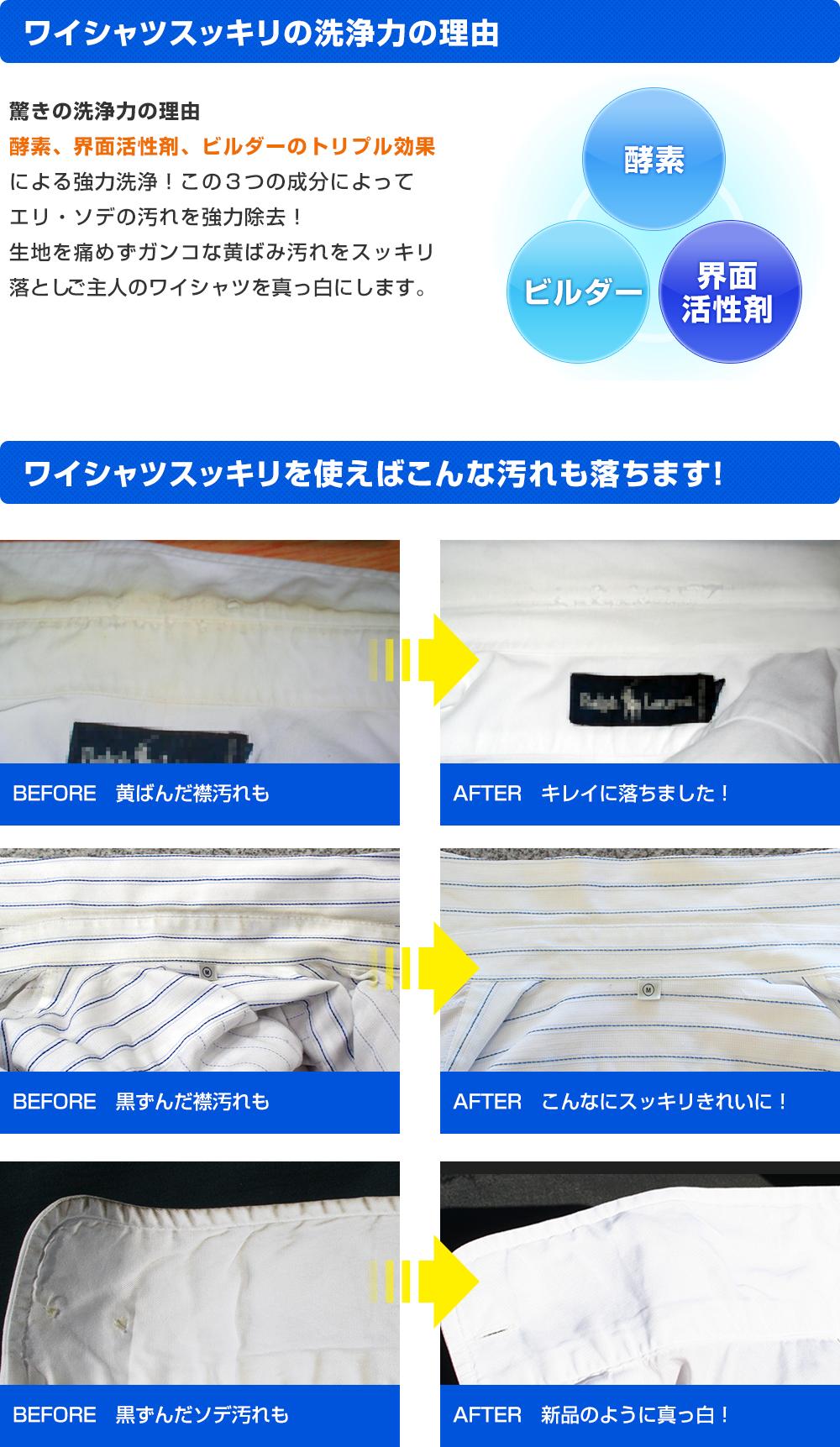 ワイシャツスッキリを使った汚れ落ちの比較