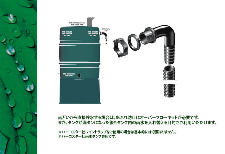 ハーコスター製雨水タンク専用オーバーフローキット