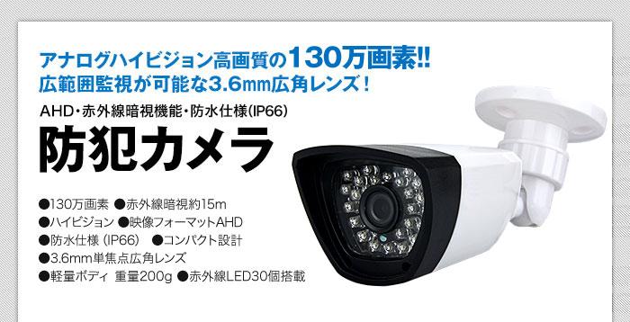 アナログ100万画素 3.6mm広角レンズ 赤外線暗視 防水仕様 防犯カメラ