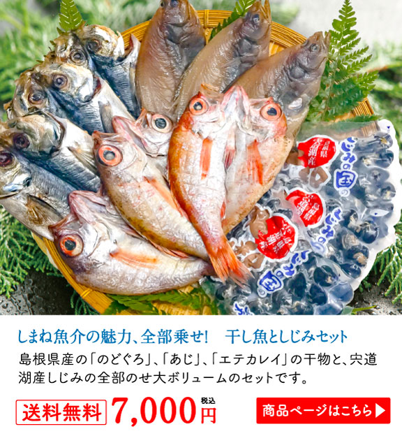 しまね魚介の魅力、全部乗せ! 干し魚としじみセット